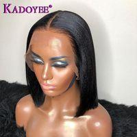 Kinky Düz Bob Peruk T Parça Ön Dantel Peruk Doğal Yaki Düz Remy İnsan Saç Preplucked Dantel Frontal Peruk İçin Siyah Kadınlar
