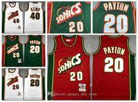 Seattle retro.SuperSonics Jersey 20 Gary Payton Verde Vermelho Branco Autêntico Vancouver 40 Shawn Kemp Hardwoods Classics Basketball Camisas