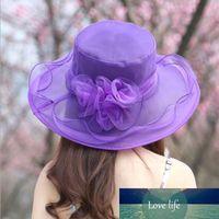 여성 교회 태양 모자는 챙이 넓은 모자 웨딩 드레스 티 파티 꽃 해변은 여름 안티 - 태양 모자 캡