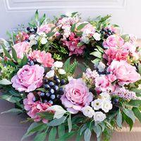 Декоративные Цветы Венки 56см Искусственная Роз Цветок Венок Главная Садовая Настенная Центральная Компенсация Окна Передняя Дверь Висит Поддельная гирлянда Свадьба