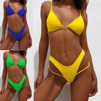 المرأة ملابس نسائية عالية الخصر / سلسلة / النيون / ثونغ / بيكيني 2021 رفع النساء ملابس السباحة مثير المايوه مايلوت دي باين فام biquini