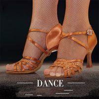 Dança Latina Sapatos mulher adulta suave inferior furador de salto alto Salsa Praça Sapatos de dança BD latino sapatos Genuine 2360-B cetim importados