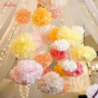 10pcs 6 8 inches Artificial flowers Tissue Paper Pom Poms Paper Flowers Balls Pompom Wedding Birthday Decoration Party 5zsh014