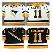 Personalizado XS-5XL Darius Kasparith Pittsburgh Penguins 1998 CCM Preto Branco Retrocesso Home Qualquer Nome Qualquer Nome Hóquei Jersey Frete Grátis