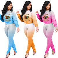 Women Tracksuit Gradient Colors Lips Letter Printed Designer...