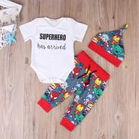 Erkek Bebek Giyim 2020 İlkbahar Sonbahar Çocuk Giyim Kısa Kollu T gömlek Romper Şapka Pantolon 3PCS Boys Suit Pamuk Bebek Boys Giyim Setleri