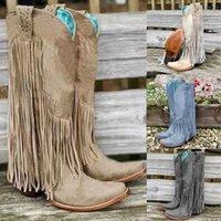 Neue Frauen-Weinlese Fringe Stiefel Kniehohe Low Chunky Heel Spitzschuh Schuhe Stiefel Weibliche Leder Western-Cowboy-Frauen