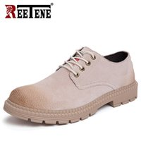 REETENE Men'S Casual Oxford Shoes Fashion Men Flats Footwear Leather Driving Shoes For Male Quality Leahter Casual Men