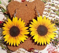 Wooden Sunflower Earring 3D stereo wood Sunflower design ear...