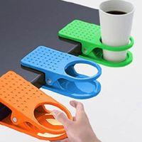 Taza de almacenamiento de escritorio del hogar Tabla taza de agua titular de rack de soporte de la horquilla de clip tabla del escritorio del estante taza de la bebida taza de café Clip Holder LX2912