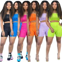 Las mujeres atractivas Büker los cortocircuitos de la manera de la raya vertical trajes sin mangas de cuello de tejer motorista cortocircuitos del verano de las mujeres de 2 pedazos