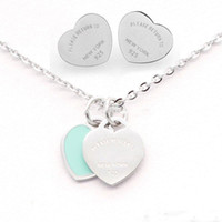 3 Color Silver Titanium Stainless Steel Letter T Double Heart Earrings Necklace For Women Lady Love Wedding Brand Jewelry Set