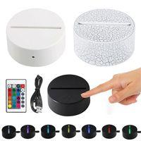 3D Lamp Holder сенсорных лампы Основывает Night Light USB кабеля ДЕКОР Lighting Замена 7 цветов Светильника для спальни ребенок Гостиных партий