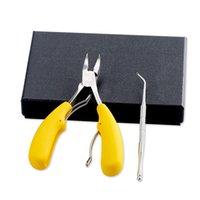 Ногтя из нержавеющей стали для ногтей для ногтей для ногтей пальцем пальца плоскочерпь маникюрный инструмент набор с коробкой для толстых нагромочных ногтей ногтей 12 шт. DHL