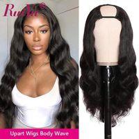 Ruiyu Corpo Cabelo onda U Parte peruca de cabelo humano por Mulheres Remy brasileira Glueless Cabeça Humana clipe inteiro U peruca 150 Densidade