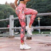 Mode pour dames Serpentine imprimés haute Leggings taille Push Up Force Pantalon Yoga Fitness Femmes Mesh Leggins en cuir Pantalons # p4