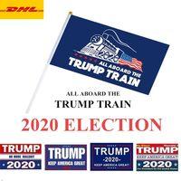 8 Стили Выборы Трамп Флаги 14 * 21 см Полиэстер Печатный Трамп Флаг Храните Америку Большое снова Президент Кампания Баннер DHL Доставка