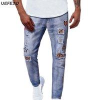 Männer Jeans Männer Stretchy Ripping Skinny Biker Stickerei Drucken Zerstörte Loch Leopard Klebte Slim Fit Denim Bleistift Hosen