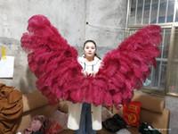 Personalizzati angelo ali bordeaux piume di struzzo di alta qualità pura fatti a mano decorazione della parete Incredibile matrimonio puntelli di ripresa