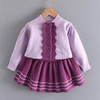 Детская девушка наряд девушки одежда платье трикотажные свитер пальто плиссированные короткие юбки набор принцессы леди зимний костюм кг-99