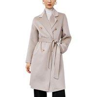 2020 femmes sur mesure en x long élégant manteaux en laine cachemire double face rose tortue manches longues cou Livraison gratuite DHL
