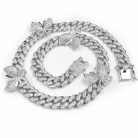 Freewear iced out bling cz 12mm Miami cuban link chain Butterfly charm choker necklace hip hop men women jewelry