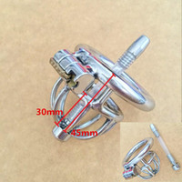 New Design 45mm length Stainless Steel Super Small Male Chastity Device Short Chastity belt Cock Cage With Catheter For BDSM