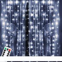 3x3m 300 LED de alambre de cobre carámbano luces de la cortina del USB con el interlocutor remoto Luz de Navidad Cadena Garland para la boda Cortina Decoración