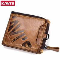 KAVIS Crazy Horse Genuine Leather Wallet Men Coin Purse Male...