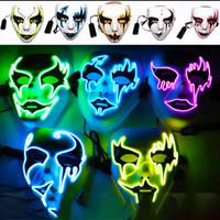 Hızlı Kargo Cadılar Bayramı parlayan maske sokak dans partisi hayalet yüz MASKES aydınlık el boyaması led hip hop EL boyama F1402 dancer