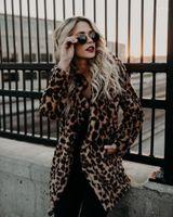 Brasão Moda Desigenr espessamento Quente lapela Outwear Casual casacos longos Mulheres Agasalho Mulheres Leopard pele do falso
