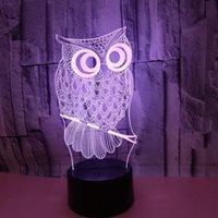 Remote Touch di controllo visivo della lampada USB creativo Colorful 3D piccolo di notte si illumina Owl luci led regalo di natale