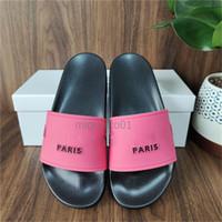 París deslizadores para mujer para hombre verano sandalias zapatillas de playa de las señoras Chanclas Holgazanes Negro Blanco Rosa Diapositivas Chaussures Lenguas Zapatos Inicio
