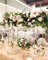 5pcs Düğün süslemeleri düğün masa merkezinde altın çiçek standı metal ayağı sütun sahne ekran raf standı geçit