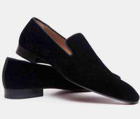 Modern Gentleman Erkekler Elbise Flats Siyah Kadife Deri loafer'lar Kırmızı Alt patenciler Moccasin Man Ünlü Marka Akşam ile Kutusu, EU35-47