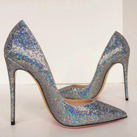 With Box 2020 summer fashion Women pumps silver glitter poin...