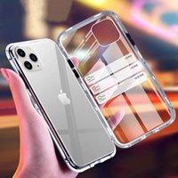 Manyetik Adsorpsiyon Metal + temperli cam Dahili Mıknatıs Telefon Hard Case çevirin 2020 Kapak iPhone 12 Pro Max 11 XS XR X 8 7 6 6S Artı GD