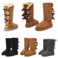 حديثا وصول الأحذية النساء فتاة الكلاسيكية الثلوج الركبة الأحذية 3 القوس الفراء التمهيد الشتاء الأسود جيري الكستناء المرأة الأزياء في الحجم 5-10