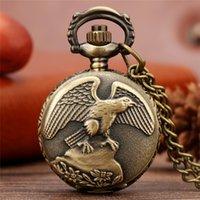 Vintage Antique Bronze Eagle Wings Bolso Assista Tamanho Pequeno Quartzo Relógios Analógicos Colar Presente Para Homens Mulheres Reloj De Bolillo