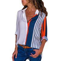 Bluz Kadınlar Gömlek Casual Uzun Kollu Çizgili Düğme Turn-down Kadın Gömlekler Bluz Boş Ofisi Bayanlar Workwear Tops