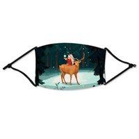 Máscaras Máscaras unisex de algodón de Navidad ciervos Impreso de Navidad Cara Lucha contra el polvo del copo de nieve de la boca cubierta lavable reutilizable con filtros FY4246