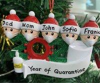 Nombre de los EEUU Stock 2020 cuarentena partido del árbol de navidad el regalo personalizado familia de 3 4 5 6 7 ornamento de la pandemia de distanciamiento social