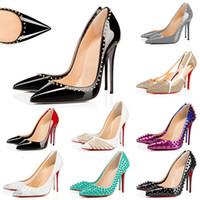 2020 빨간색 하단 패션 여자 높은 heelos 여자 여자 파티 웨딩 디자이너 드레스 신발 정품 가죽 하이힐 8 ~ 10 12CM EUR 35-42