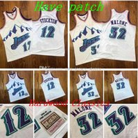 Männer Basketball Utah Jazz 32 Malone 12 Stockton Navy Alternative 1996-1997 Authentisches Trikot und Hose