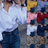 Moda Bayan Uzun Puff Kol Bluz Artı boyutu Casual Gömlek Celmia 2020 Sonbahar Bayanlar Ofis Düğmeler Katı blusas Loose Tops