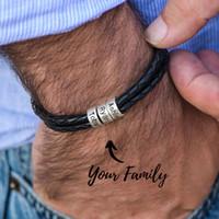 Персонализированные мужские Плетеный из натуральной кожи Браслет из нержавеющей стали на заказ шариков Имя браслет для мужчин с Семейным имен