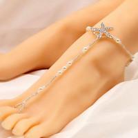 simulazione di moda le donne perla stella marina cavigliera boho perla nozze sposa gioielli gioielli piede Xb4Z #
