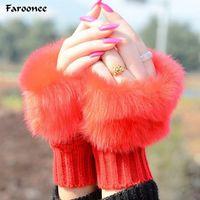 Faroonee Fingerless меховые перчатки для женщин меха вязаные перчатки зимние женские Вязание Теплее наручные руки Mitten 7C0711