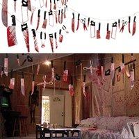 Кровавый нож Garland Баннер ПВХ нож крови ног рук Garland Баннер Хэллоуин Ужасные сцены висячие украшения