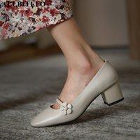 Zapatos de vestir Allbitefo Toe de la Plaza del Toe genuino Tacones gruesos Boda Mujer Marca High Office Damas Flores